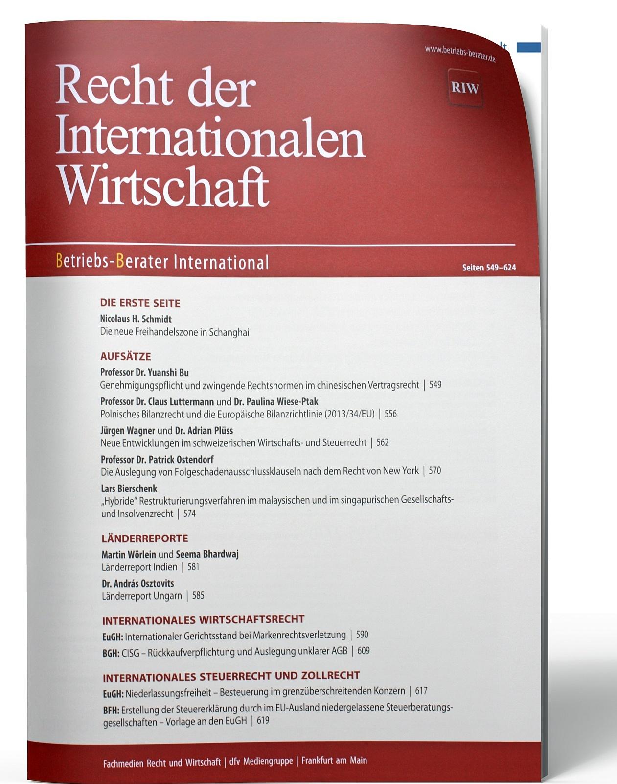 RIW Recht der internationalen Wirtschaft