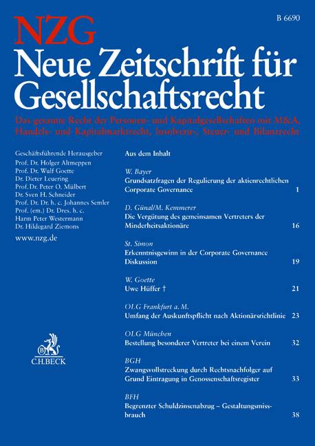 NZG Neue Zeitschrift für Gesellschaftsrecht