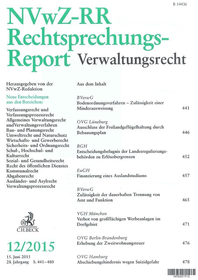 NVwZ - Rechtsprechungs-Report Verwaltungsrecht