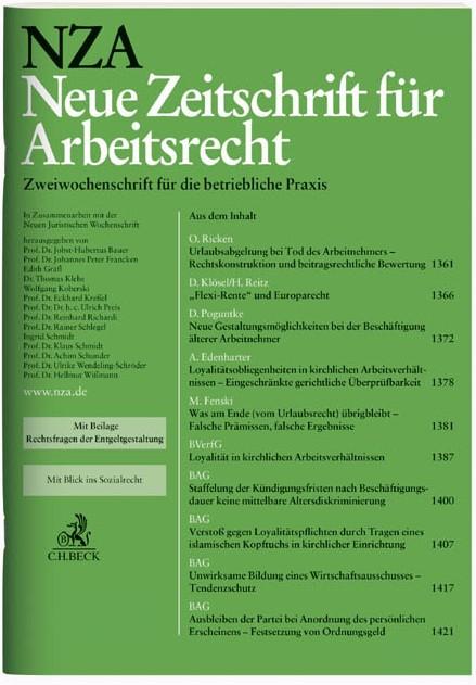 NZA Neue Zeitschrift für Arbeitsrecht