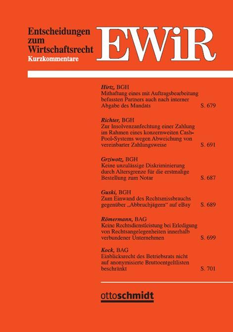 Entscheidungen zum Wirtschaftsrecht EWiR