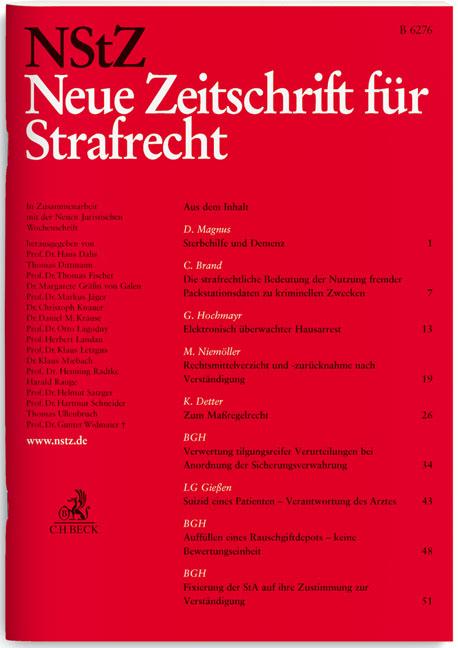 NStZ Neue Zeitschrift für Strafrecht