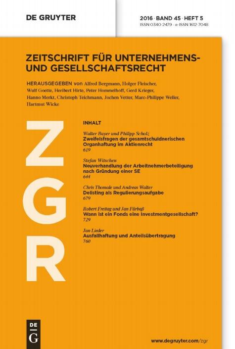Zeitschrift für Unternehmens- und Gesellschaftsrecht ZGR