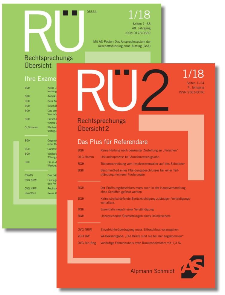 RÜ+RÜ2 Rechtssprechungs Übersicht